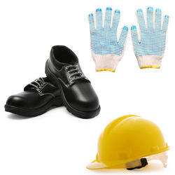 Industrial Safety Equipment Like Shoes, Helmets and Hand Gloves