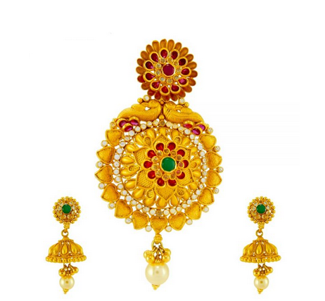 Gold Pendant Peacock with heart design 22kt gold pendant set sone ki latkan set peacock with heart design 22kt gold pendant set audiocablefo
