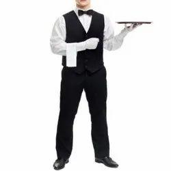 Black And White Mens Cotton Waiter Uniform, Size: S-XXL