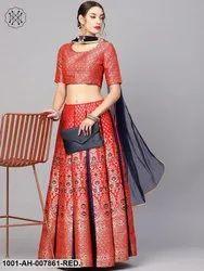 Red Gold Self Designed Lehenga Choli With Dupatta