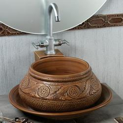 Simpolo Spring Hand Crafted Wash Basin, Shape: Round