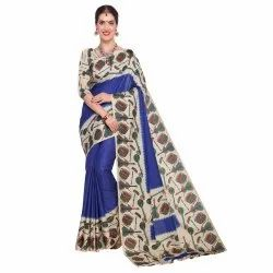 Rust Blue &  Beige Colored Art Silk Printed Casual Saree