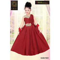 Party Wear Synthetic Trendy Kids Gown, Size: 24 to 38