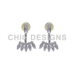 Diamond Leaf Ear Jacket Earrings