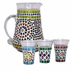 Glass Mosaic Water Jug Set