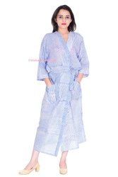 Cotton Voile Block Print Kimono Bathrobe