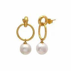 Gold  Pearl Hoop Earring