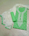 Green And White Embroidered Cotton Fabric Suit