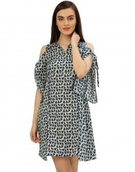 Women A-Line Blue Geometrical Cotton Dress