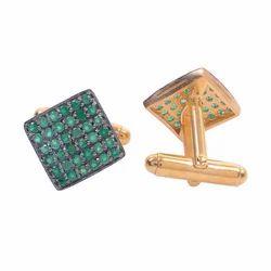 Natural Precious Emerald Micron Gold Plated Silver Mens Gemstones Cufflinks