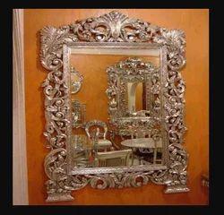 Rectangular Silver or White Metal Inlaid Mirror Frame