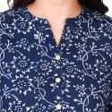 Blue Color Cotton Printed Straight Kurta For Women & Girls