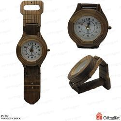Brown Analog Wooden Clock, Model No.: DC-003