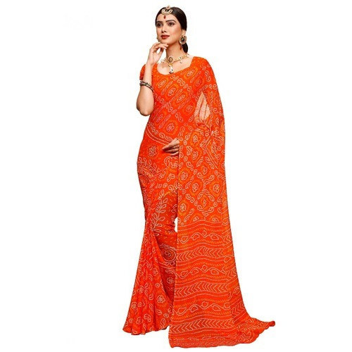 dccb96565b Orange Bandhani Saree With Blouse Piece, Saree Length: 5.5 M, Rs 450 ...