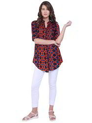 Shirt Style Printed Designer Long Top