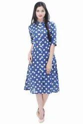 Designer Casual Wear Kurti Block Print Dress