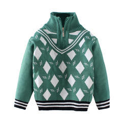 Zipper Collar Kids Sweater