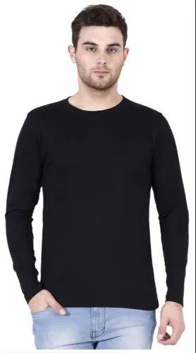 4361a996bd Mens Round Neck Plain Full Sleeve Black T Shirt, Rs 180 /piece   ID ...