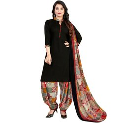 Rajnandini Black Crepe Printed Unstitched Dress Material