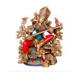 Brass Saraswati idol