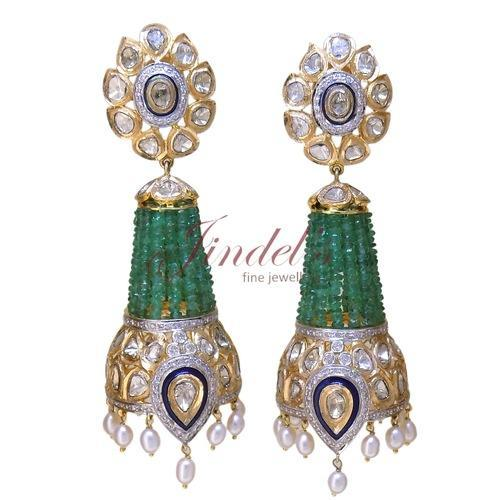 Gold And Polki Emerald Jhumka Earrings