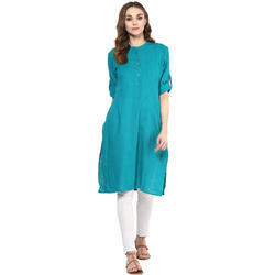 Cotton 3/4th Sleeve Green Kurti, Size: XL