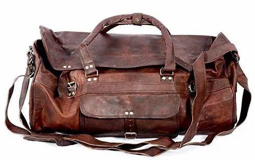 Brown Round Flap Duffel Bag Leather Duffel Travel Bag fcf03aa3db8ba