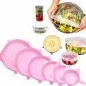 Transparent Round Silicone Lids, 6 Pcs Set Silicone Caps Stretch Lids