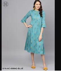Aasi Rayon Blue Printed Maxi Dress, Hand Wash, Size: Xs-xxxl