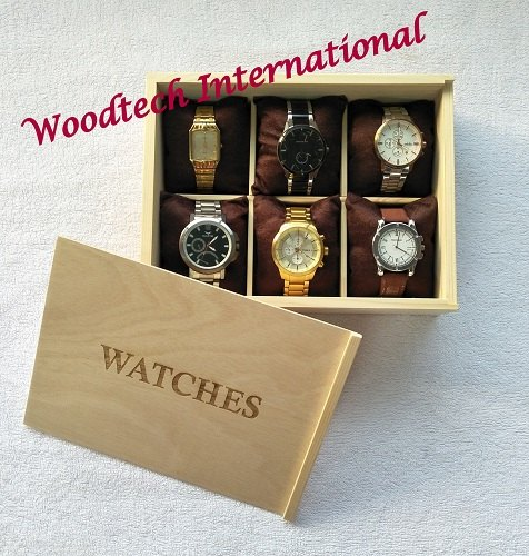 Wooden Watch Box With 6 Compartments