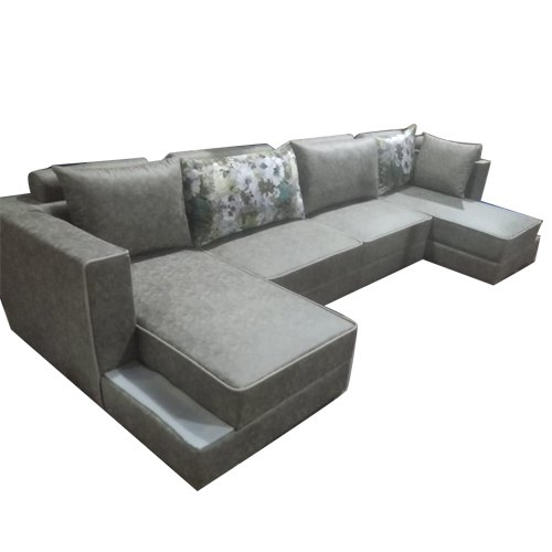 4 Seater Gray Leather Sofa Set