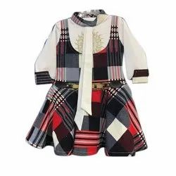 Casual Wear Girls Printed Cotton Frocks