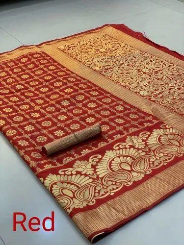 90f37ccbb7eae Zari Wooven Border Banasari Handloom Weaving Silk Saree With Rich Contrast  Pallu