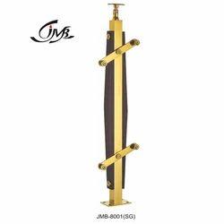 Stainless Steel Glass Wood Railing Golden Pillar