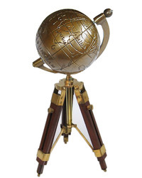 Complete Brass On Wooden Tripod Stand World Globe