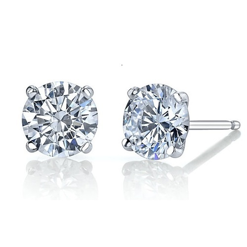 Jenujewel Round Moissanite Earrings 14k White Gold