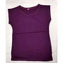 Cotton Round Neck Ladies Violet Crop Top, Packaging Type: Plastic Packet