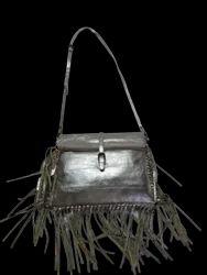 Fringe Silver Leather Sling Bag