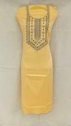Yellow Embroidered Dress Material Dno. 0002, Avani, Pure Satin Cotton Yog Work