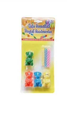 Birthday Candles With Teddy Bear Holder