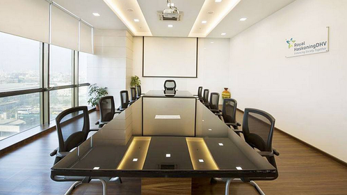 White And Brown Large Boatshaped And Small Round Tables Conference - Large white conference table