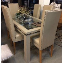 Brown Plywood 6 Chair Dining Table Set, 1 Table,6 Chair
