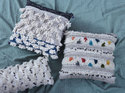 Cotton Tufted Sequence Silver  Work Cushion Cover
