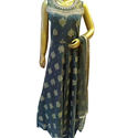 Ladies Chanderi Long Gown with Pearl Work