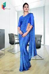 Royal Blue Italian Crepe Uniform Saree