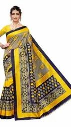 Kalamkari Art Sik Printed Saree With Blouse