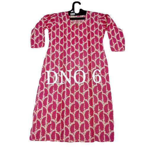 Cotton Printed Fancy Long Kurti, Size: S to XL