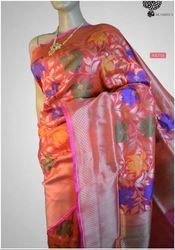 Multi Color Banarasi Handwoven Pure Katan Silk Saree