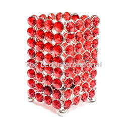 Red Color Crystal Bead Votive Candle Holder New Design