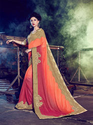 Chiffon Double Shaded Embroidered Saree